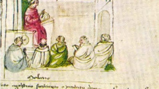 Augustinus geeft les in Milaan