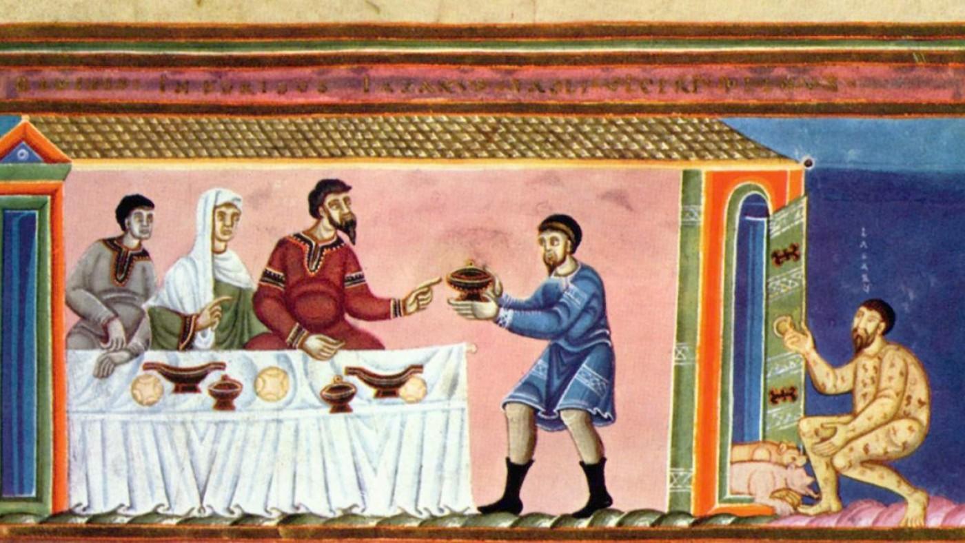 Lazarus en de rijke, detail triptiek door de Meester van de Codex Aureus Epternacensis, publiek domein